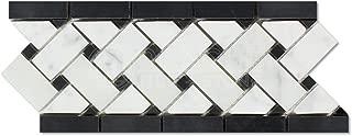 Carrara White Italian (Bianco Carrara) Marble Basketweave Border Mosaic Tile with Black Marble Dots, Honed
