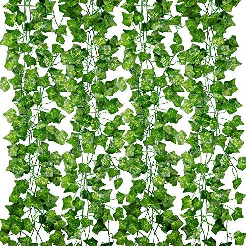 Efeu Künstlich Girlande,12 Stück Efeugirlande Kunstpflanze Hängend Künstliches 80 Blätter Girlande Efeu Hochzeit Hängepflanze Künstlich für Büro, Küche, Garten, Party Wanddekoration