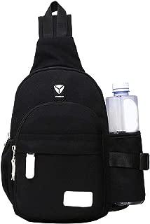 Men Women Nylon Crossbody Shoulder Chest Cycle Sling Bag Daily Travel Backpack (Black)