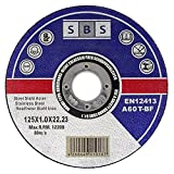 Disco de corte de SBS (acero inoxidable, 100 unidades, 125 x 1,0 mm).
