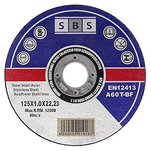 SBS - Disco de corte inoxidable (100 unidades, 125 x 1 mm, flexible)