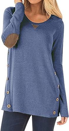 NICIAS Mujeres Botones en Ambos Lados Manga Larga Casual Cuello Redondo Parche en el Codo Camisa de Entrenamiento Camiseta de Suelta Blusas Chaqueta ...