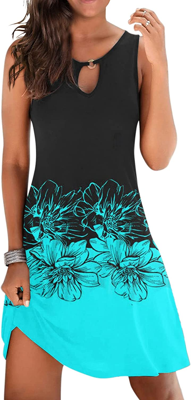 Gerichy Summer Dresses for Women 2021, Womens Sleeveless Sundress Gradient Boho Short Mini Dress Bodycon Beach Dresses