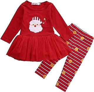 Newborn Kids Baby Girls Christmas Clothes Tutu Dress Skirt Tops+ Stripe Pants Outfit Set
