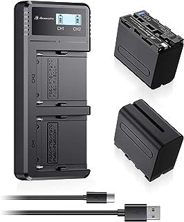 NP-F970互換バッテリー 2個と充電器セット 8800mAh リチウムイオン電池 7.4V NP-F970バッテリーとデュアルチャネル充電器 Sony NP-F750 F550 F770 F960 F975 F930 F570と完全に互換が...