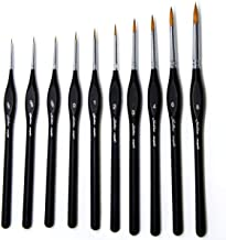 Detail Paint Brushes Set 10pcs Miniature Brushes for Fine Detailing & Art Painting - Acrylic, Watercolor,Oil,Models, Warha...