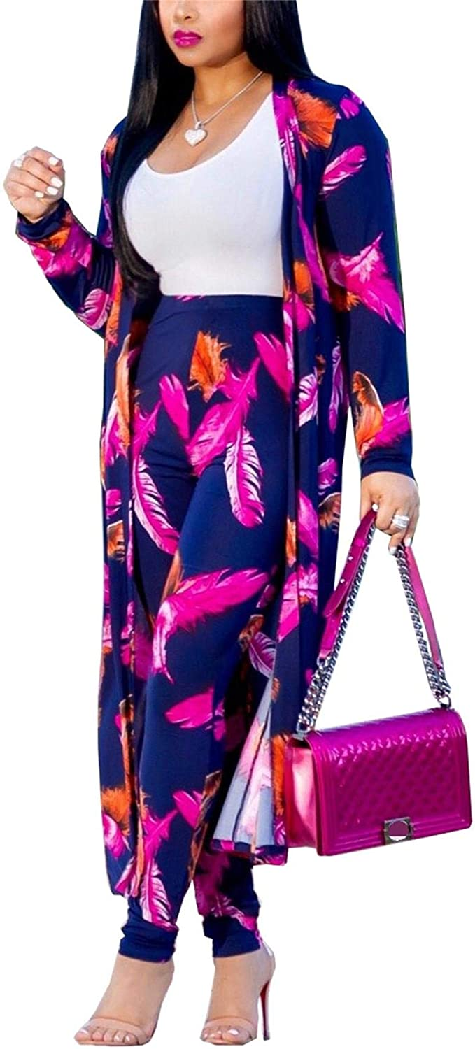 VLUNT Direct stock discount Womens 2 Piece Outfits Floral an Print Cardigan Max 90% OFF Open Front