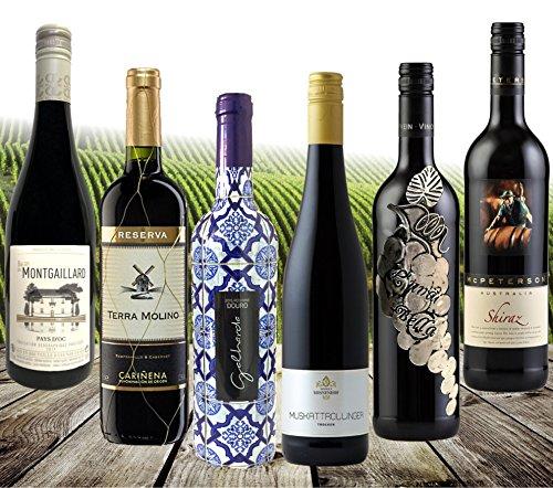 DIE WEIN-REISE | 6 Länder & 6 internationale Rotweine | Spanien, Frankreich, Italien, Portugal, Deutschland & Australien | Das 6er Wein Geschenk-Set für Geburtrtage oder als Dankeschön | Kennenlern- & Probier-Paket Sortiment 6 Flaschen landestypische Rotweine