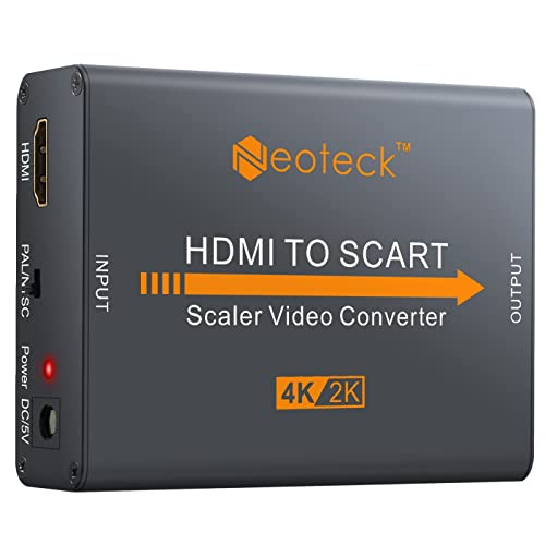 Neoteck Aluminum 4K HDMI to SCART Converter Composite HD Video Stereo Audio Adapter HDMI Input SCART Output Converter with UK Power Adapter for TV DVD SKY HD Blu Ray DVD Apple PS3 etc