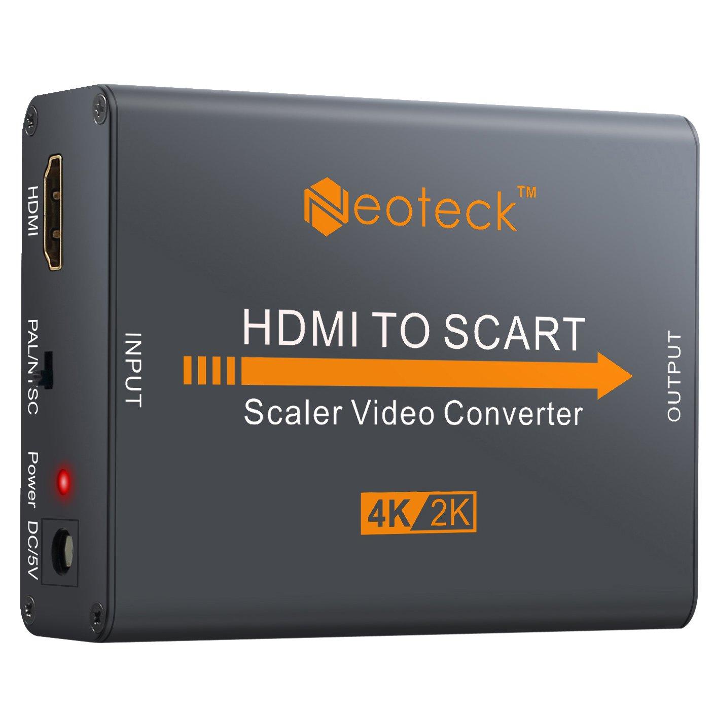 Neoteck Convertidor 4K HDMI a SCART de aluminio con adaptador de corriente para TV, DVD, SKY, HD Blu Ray, DVD, Apple y PS3 4K 2160P: Amazon.es: Electrónica