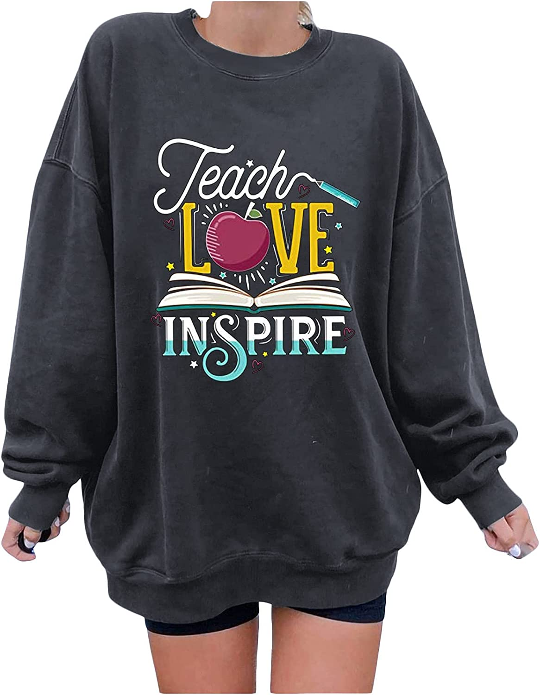 Women Vintage Oversized Sweatshirt Funny Loose Long Sleeve O-Neck Shirt, Teach Love Inspire Letter Print Pullover Top
