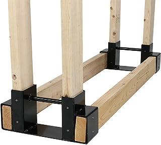 Sunnydaze Outdoor and Indoor Firewood Log Rack Bracket Kit – Black Powder-Coated..