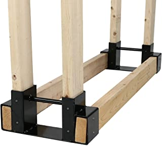 Sunnydaze Outdoor Firewood Log Rack Bracket Kit, Fireplace Wood Storage Holder - Adjustable to Any Length