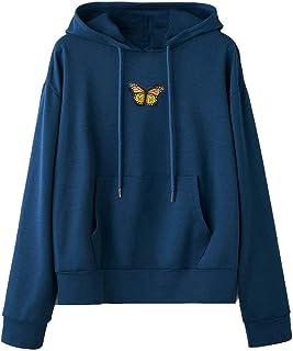 YTZL Hoodie dames oversized lange mouwen capuchon vlinders borduurwerk hoodies vintage pullover tieners meisjes capuchon d...