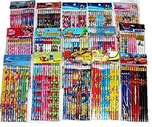 Disney 180 pcs Nickelodean DreamWorks Marvel Cartoon Character Licensed Wooden Pencil School Party Bag Fillers Supply