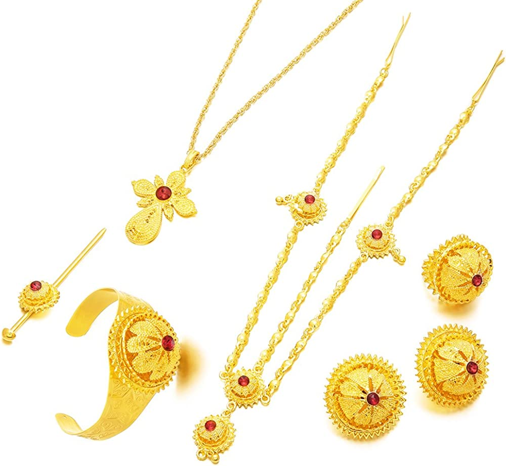 24K Gold Plated Red Stone Ethiopian Cross Pendant Women Jewelry Sets Habesha Eritrean Items