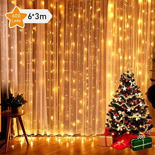 GlobaLink 6 × 3M Lichtslinger met 600 LED-verlichting, Lichtgordijn, Lichtsnoer, Verlichting Voor Ramen, Kerstmis, Feest, Buiten, Bruiloft, Decoratie etc.