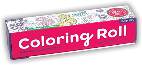 Mudpuppy Flower Garden Coloring Roll, Ages 3+, 10 Feet of Color-in Paper, Includes Crayons, Great for Collaboration