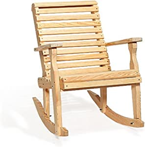 Leisure Lawns Poly Outdoor Furniture Amish Pine Wood Roll Back Patio Rocking Chair (Natural)