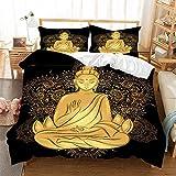 HLSM Set copripiumino con stampa 3D Buddha Loto, retro misterioso orientale Buddha immagine disegno copripiumino tema Peace Mandala nero oro set biancheria da letto (A3, matrimoniale 200 x 200 cm)