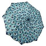 Galleria Peacock, Auto-Open/Close Extra Large Portable Rain Folding Umbrella