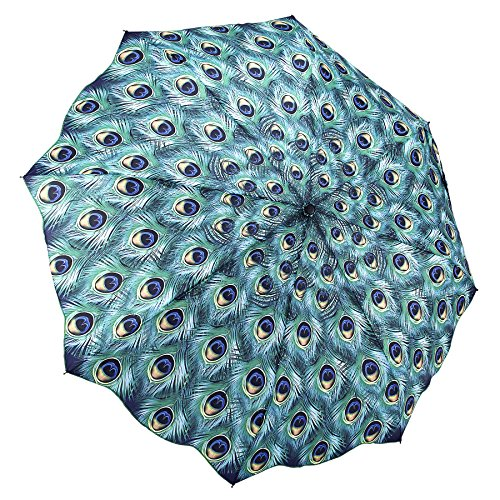Galleria Peacock, Auto-Open/Close Extra Large Portable Rain Folding Umbrella