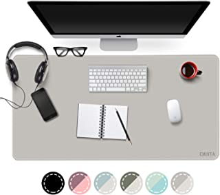 EMINTA Dual Sided Office Desk Pad, New Upgrade Sewing Waterproof PU Leather Large Mouse Mat Desk Blotter Protector, Ultra Thin Desk Writing Mat for Office/Home (Gray/Silver, 31.5