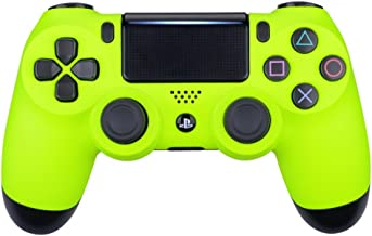 eXtremeRate Soft Touch Grip Front Housing Shell Faceplate for Playstation 4 PS4 Slim PS4 Pro Controller (CUH-ZCT2 JDM-040 JDM-050 JDM-055) (Lime Yellow)