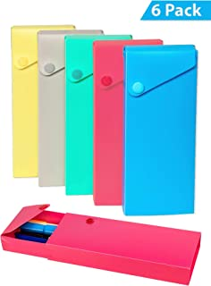 Slider Pencil Case - Sliding Pens and Pencils Case with Button Snap Closure - for School, Home, Office - Assorted Colors - (6-Pack)