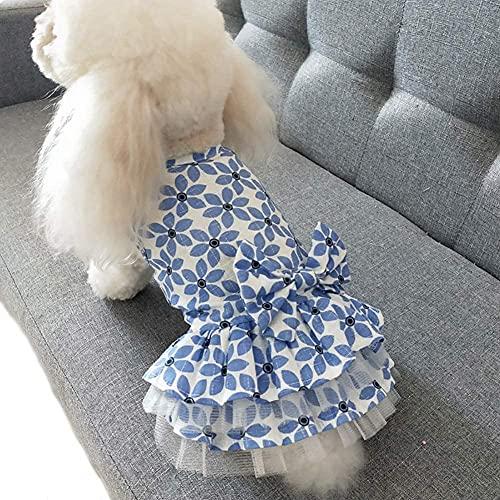 LYDIANZI Jurk Puppy Prinses Leuke Kant Tutu Jurk Bowknot Prinses Kleding Hond Kat Nieuwe Zomerjurk(Size:X-groot,Color:blauw)