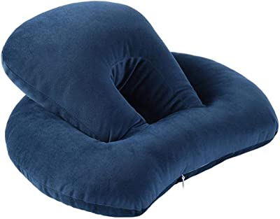 Outdoor Inflatable Pillow Travel Pillow Portable Adult Neck Pillow Travel Compression Inflatable Pillow U-Shaped Pillow QYLOZ Color : Blue