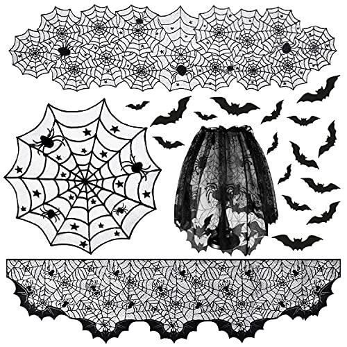 5 Paquetes Juego de Mantel de Decoraciones de Halloween - telaraña Manteles Bufanda de Chimenea y 16 Piezas Pegatinas de Pared de murciélagos para Chimenea de Mesa decoración de Halloween