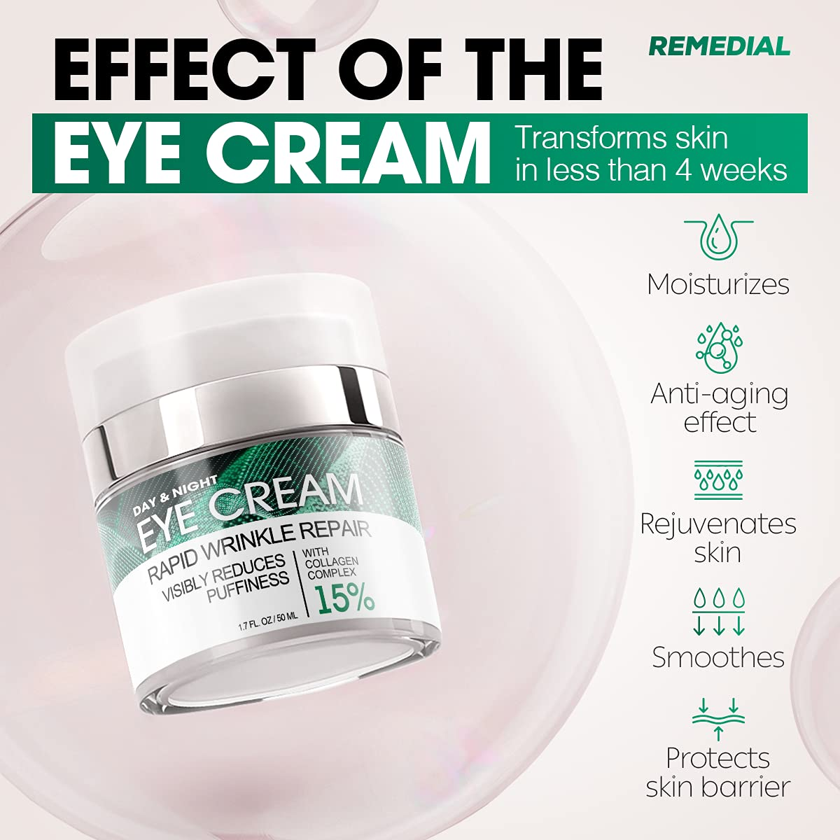Eye Cream for Dark Circles Wrinkles Puffiness and Bags Under Eyes – Anti-Aging Collagen Eye Cream – Day and Night Formula with Caffeine, Dimethicone and Vitamin B – 1.7 Oz