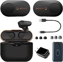 Sony WF-1000XM3 Noise Canceling Wireless Earbuds + Deco Gear 8,000 mAh Wireless Power and High-Performance USB Power Adapter Bundle (Black)