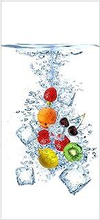 Wallario Selbstklebende Türtapete mit Schutzlaminat, Motiv: Obst Eiswürfel Mix im Wasser mit weißem Hintergrund   Größe: 93 x 205 cm in Premium Qualität