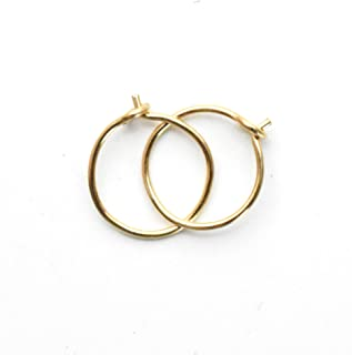 Tiny Hoop Earrings 14k Yellow Gold Fill, 8mm, 24 gauge Handmade Extra Thin Everyday Minimalist Style Huggie Hoops for Men,...