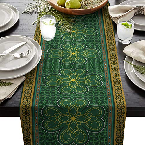 Dining Table Runner for Home Kitchen Coffee Table Decorative St. Patrick's Day Traditional Shamrock Irish Cotton Line Table Linens for Indoor Outdoor Party/Holiday/Wedding/Gathering 13x90inch