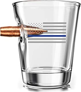 .308 Authentic Solid Copper Projectile Shot Glass - Thin Blue Line Police Flag