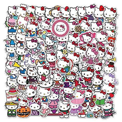 SHUYE Linda Imagen de Dibujos Animados Hello Kitty Graffiti Pegatinas teléfono móvil Maleta Pegatinas Impermeables 50 Hojas