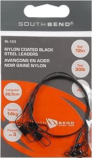 South Bend Black Nylon Coated Steel Leader 12-Inch (Black)