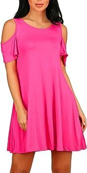 PCEAIIH Women's Cold Shoulder Tunic Top Swing T-Shirt Loose Dress