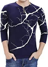 AIEason Men top Fashion Men's Lightning Printed Casual Long Sleeve T Shirt Top Button Blouse