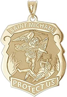 PicturesOnGold.com Saint Michael Badge - 1 Inch X 1-1/4 Inch -Solid 14K Yellow Gold
