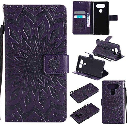 pinlu® PU Leder Tasche Etui Schutzhülle für LG V20 Lederhülle Schale Flip Cover Tasche mit Standfunktion Sonnenblume Muster Hülle (Lila)