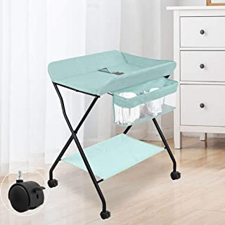 Adjustable Height With Wheels, Baby Changing Stations Baby Products Diaper Table Baby Care Table Touching Portable Foldable Bed Bath Changing Diaper Wet Newborn Baby Mobile Nursery Organizer