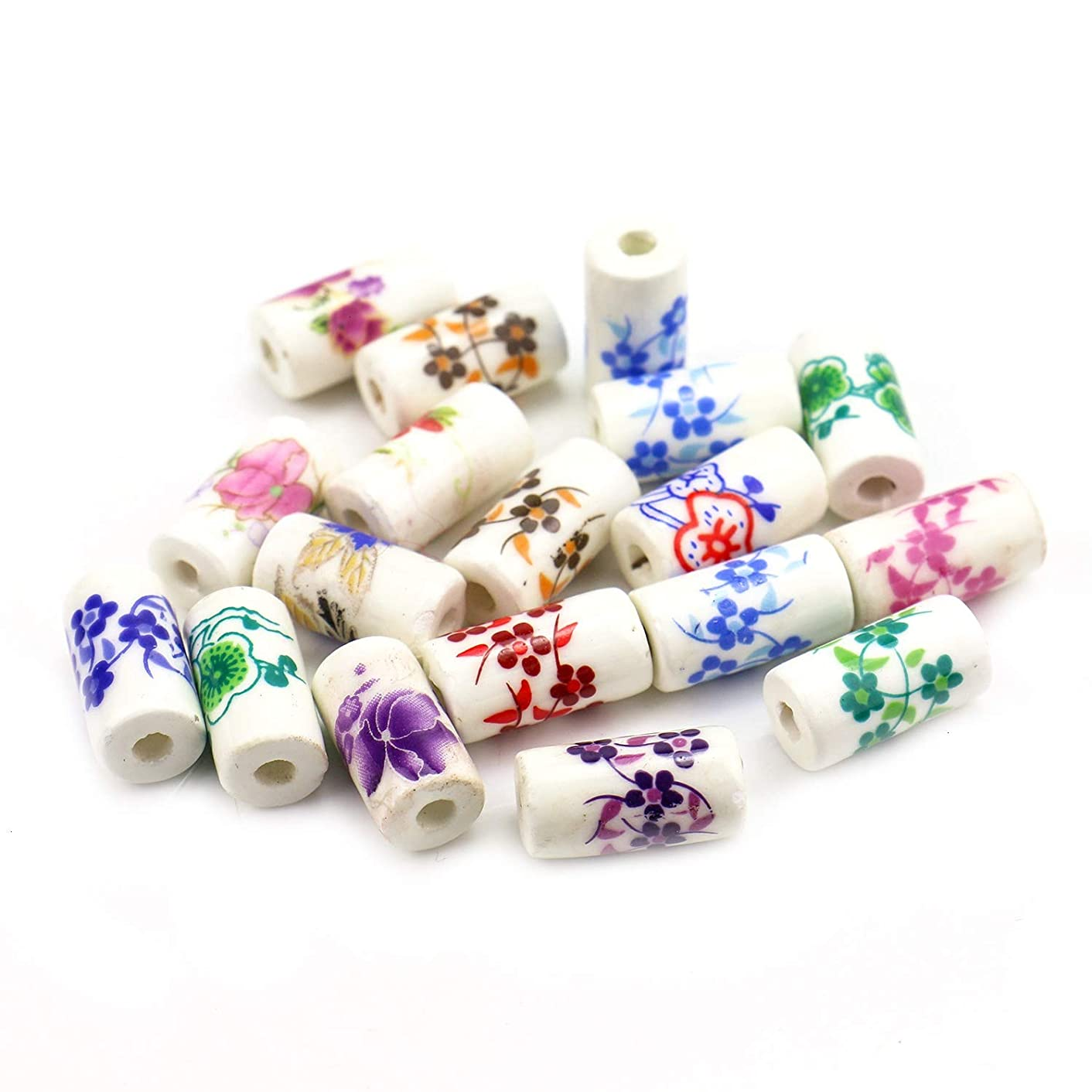 Monrocco 36 PCS Mixed Flower Ceramic Beads Traditional Chinese Stlye Floral Tube Ceramic Loose Bead