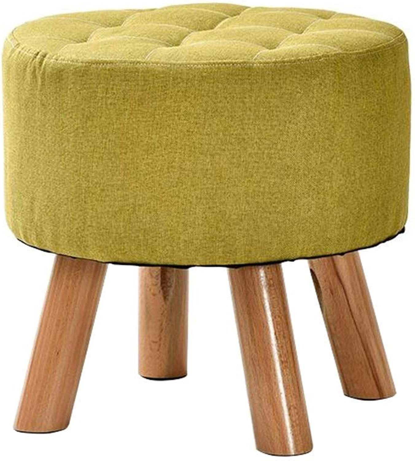 Round Padded Footstool Chair, Replacement shoes Bench Detachable Linen Cover and Solid Wood 4 Legs (color  4 colors) (color   Green)