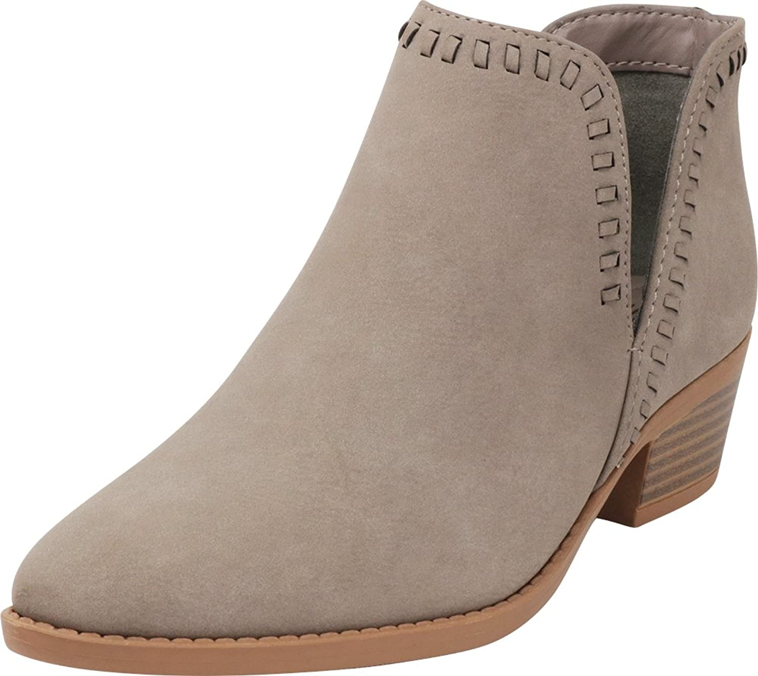 Cambridge Select Women's Closed Toe Western Side Cutout Whipstitch Chunky Stacked Block Low Heel Ankle Bootie