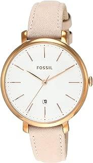 Fossil Jacqueline Reloj de cuarzo de acero inoxidable con correa de piel de becerro para mujer, beige, 13 (Modelo: ES4369)