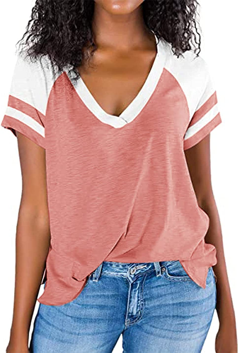 Womens T Shirts V Neck Short Sleeve Casual Summer Shirts Tunic Tops Side Split Loose Fit Workout Plain T Shirt